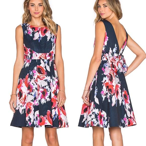 Kate Spade Hazy Floral Fit & Flare Dress Navy 8